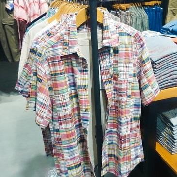 半袖マドラスパッチワークボタンダウンシャツ