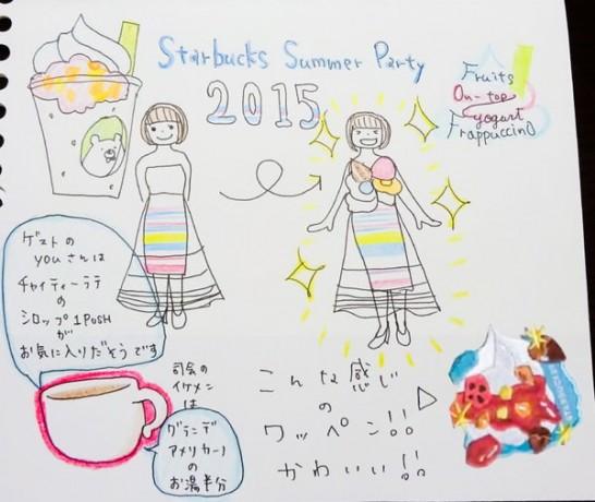 Starbucks Summer Partyを見たラクガキ。限定ワッペンとドレスのイメージ図